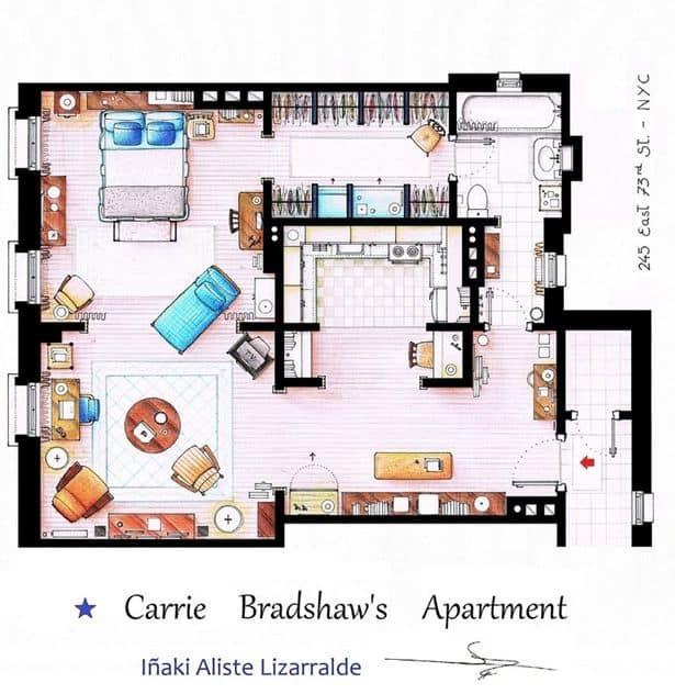 planimetria cartina di Carrie Bradshaw sex and the city