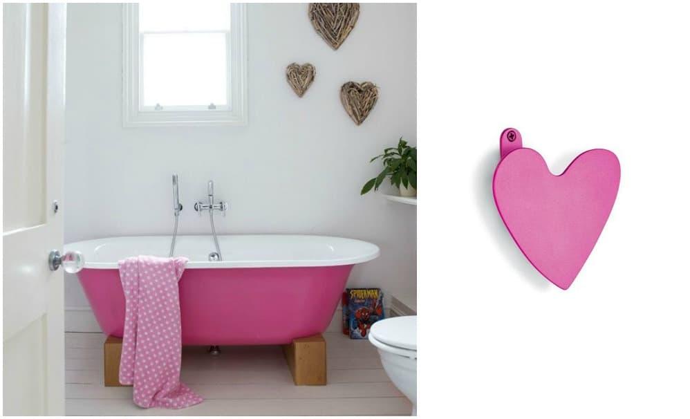 bagno rosa con accessori a cuore, gancio appendi abiti a cuore