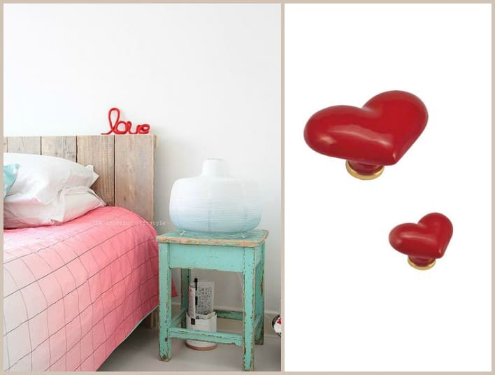 camera da letto romantica shabby chic pomello a cuore per la casa