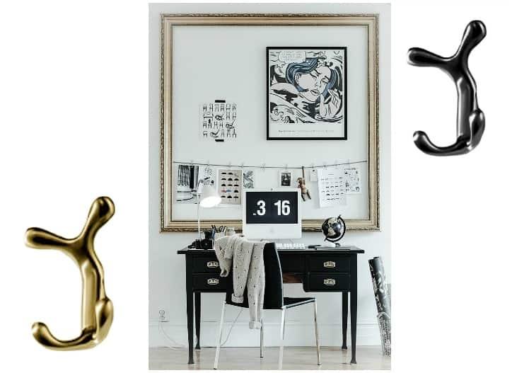gancio multiplo porta abiti per ufficio oro e nero stile chic appenditutto