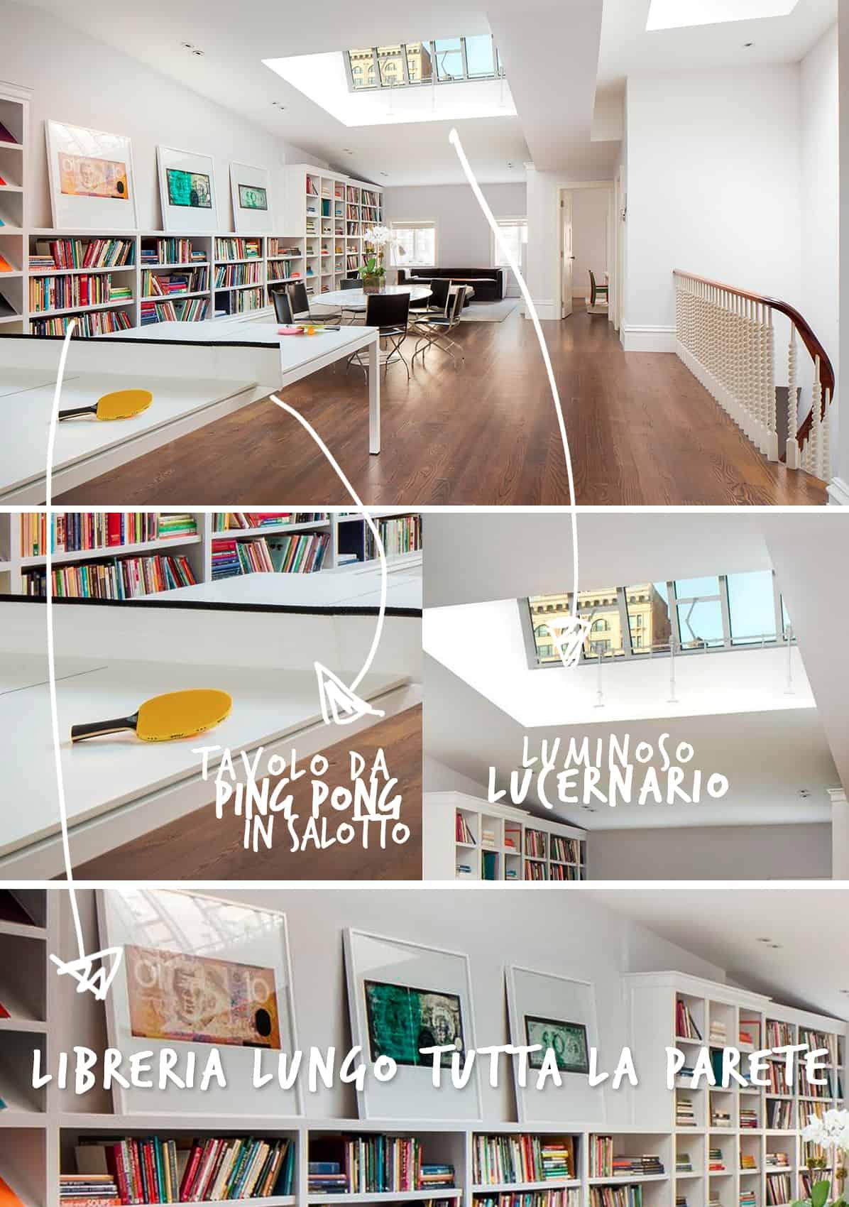 La Libreria In Legno Lunga E Bellissima Occupa L'intera Parete E  #AA7321 1196 1700 Arredare Sala Da Pranzo Stretta E Lunga