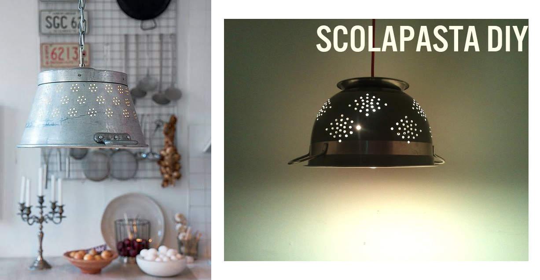 scolapasta lampadario diy low cost per la casa