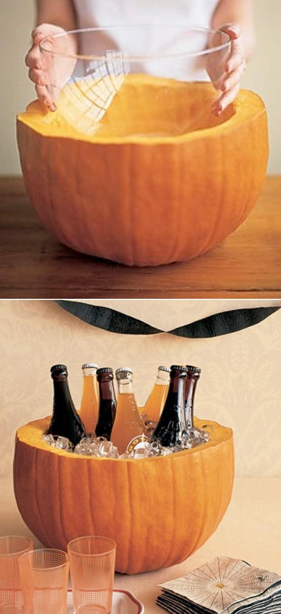 Pumpkin Bowl Drink Holder zucca utilizzata come porta bibite per festa tema halloween