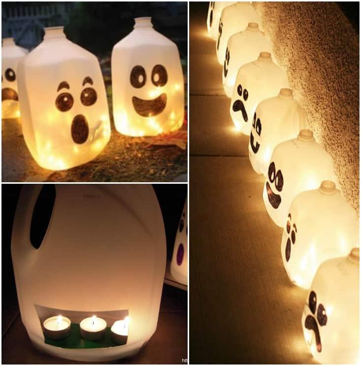 lanterne di halloween creative con flaconi dei detersivi