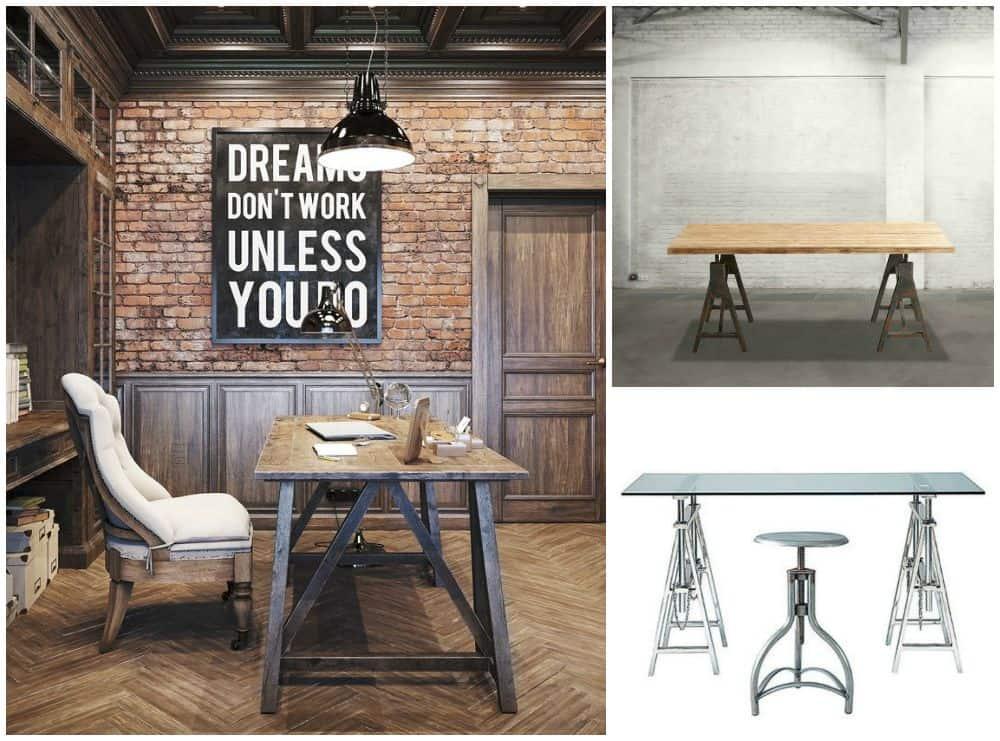 Ufficio fai da te scrivania con cavalletti e lampada di legno for Design ufficio scrivania