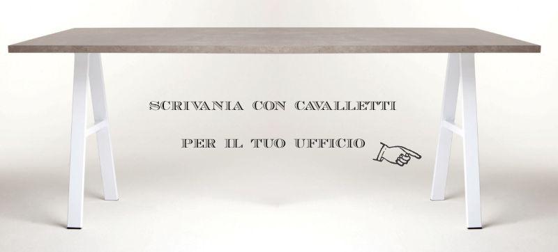 scrivania cavalletti con ripiano legno tuttoferramenta