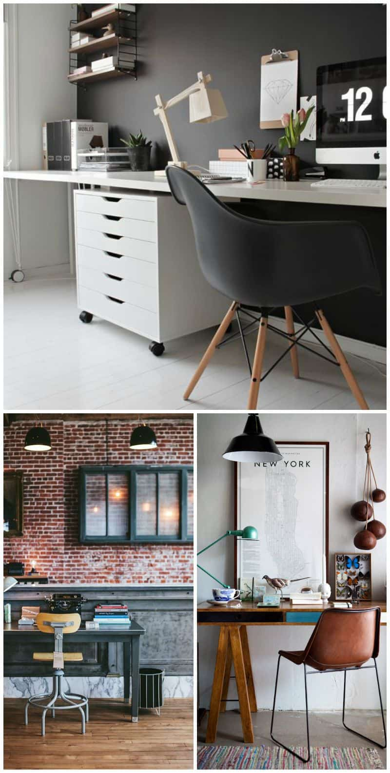 ufficio fai da te scrivania con cavalletti e lampada di legno