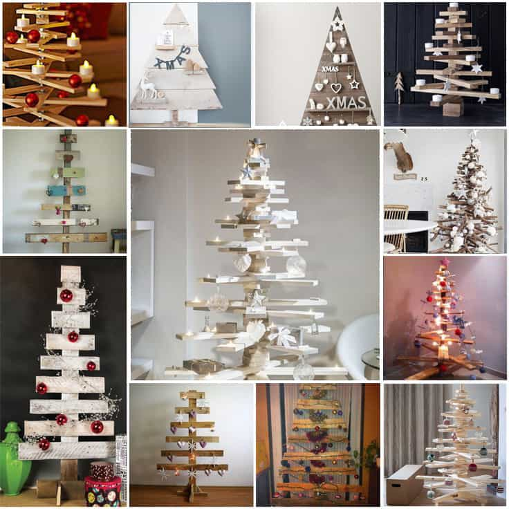 Fai da te albero di natale con pallet - Decorazioni natalizie legno fai da te ...