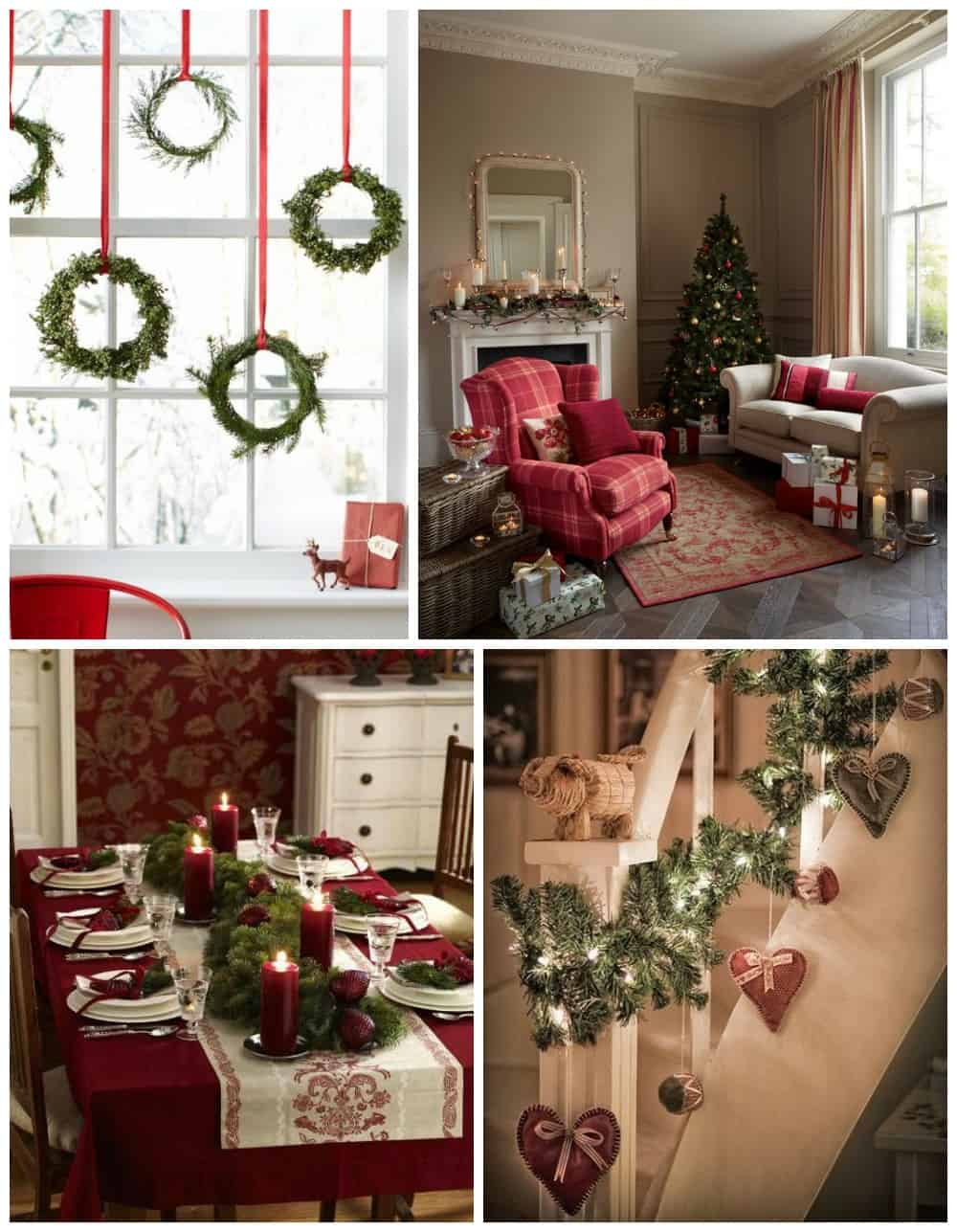 Natale tradizionale addobbi e decorazioni rosse natalizie