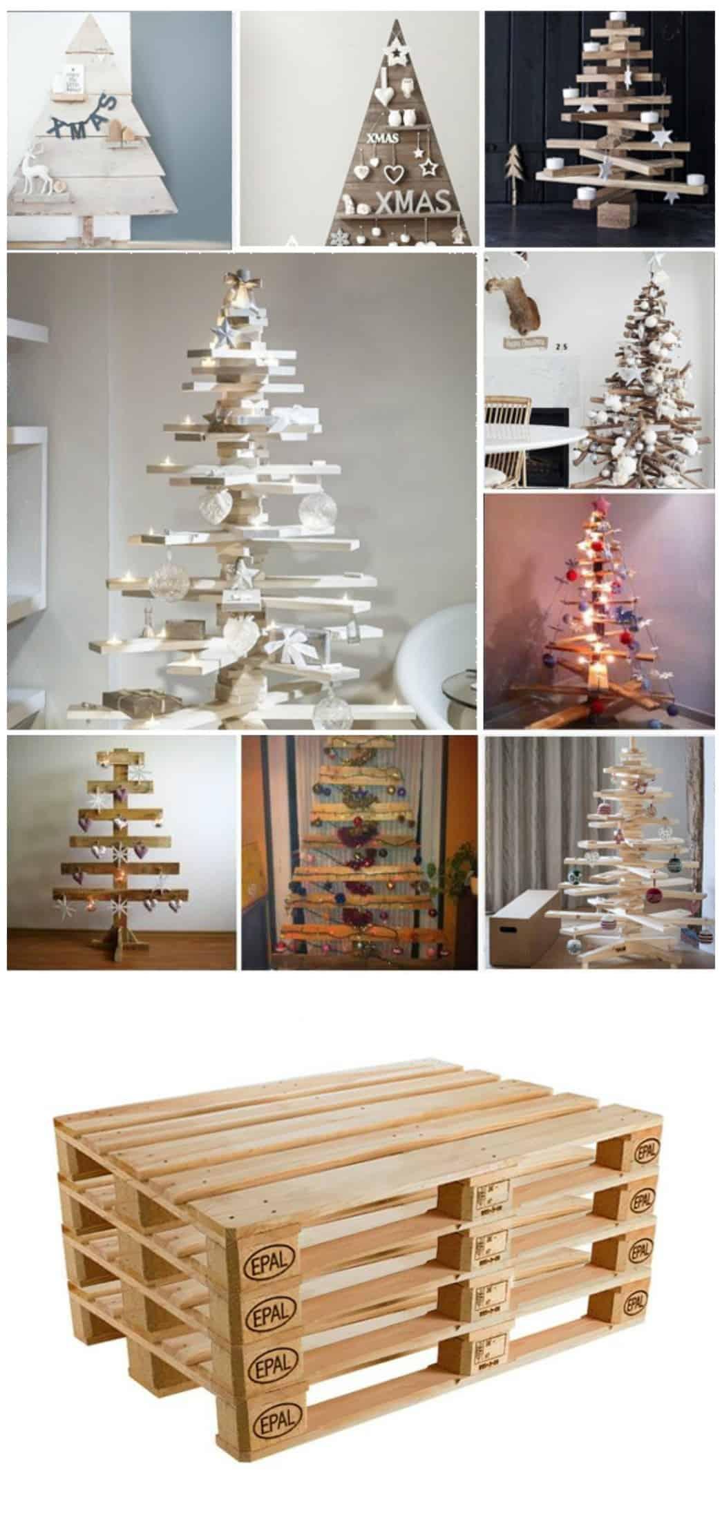 alberi di natale con pallet idee tutorial diy per l'arredo di casa natalizio