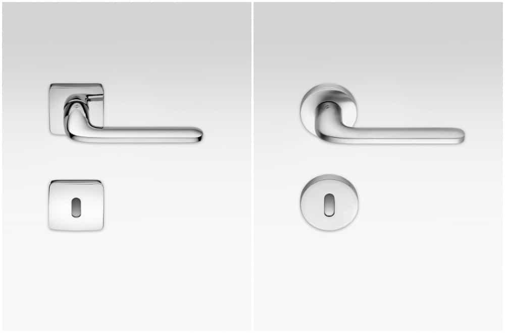 maniglie per porta interna con rosetta quadrata e rotonda