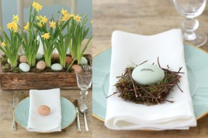 Uova di Pasqua con i nomi segnaposto