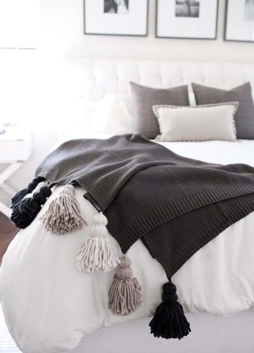 1 tuttoferramenta diy coperta pom pom fai da te Tassel-blanket
