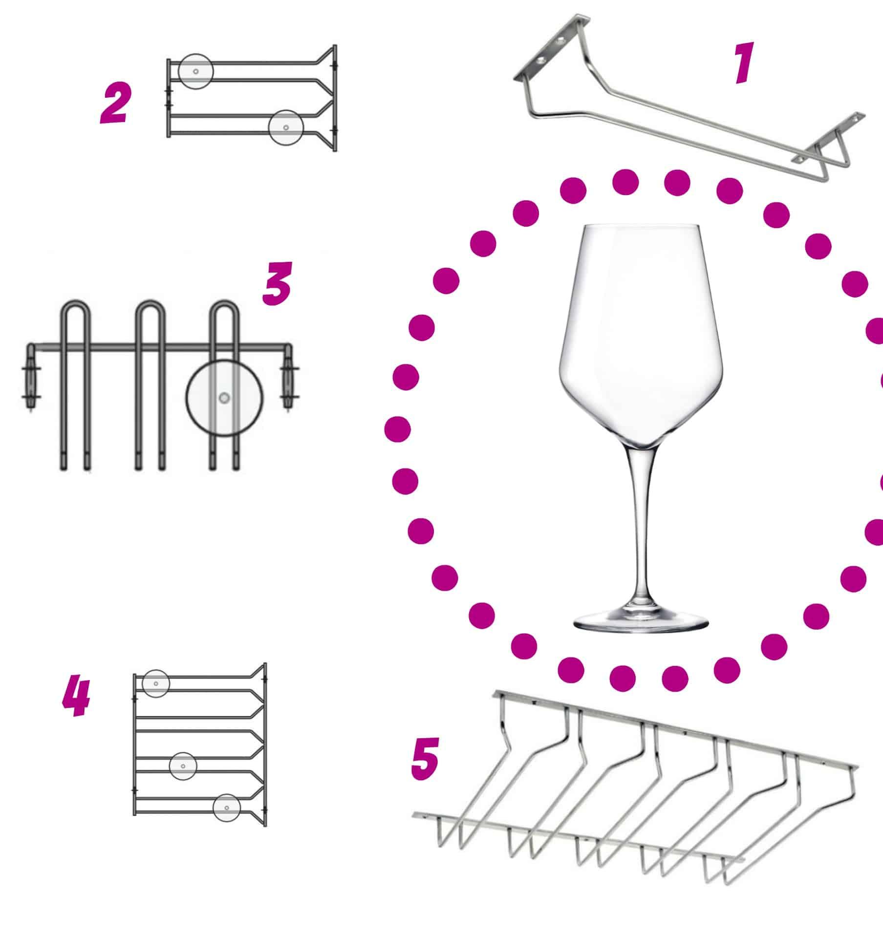 porta bicchieri e calici vino sotto pensile sospesi per cucina e bar