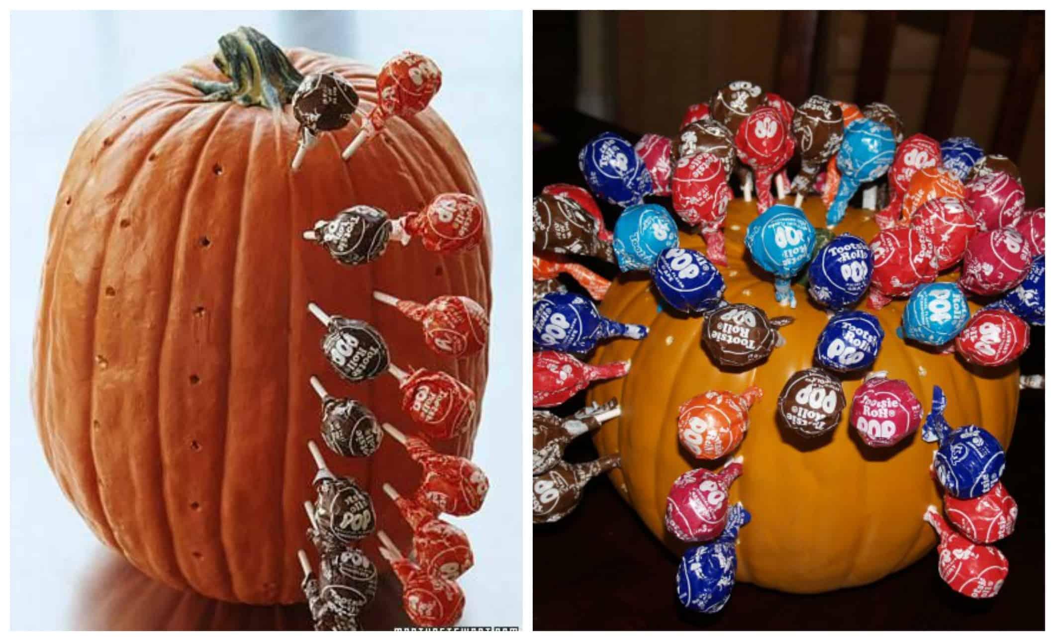 Zucca con lollipops per un halloween fai da te per bambini