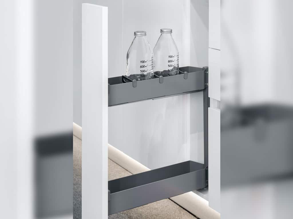 Carrello estraibile per mobile cucina, doppio cestello in metallo, colore Antracite, Larghezza modulo cucina 20 cm